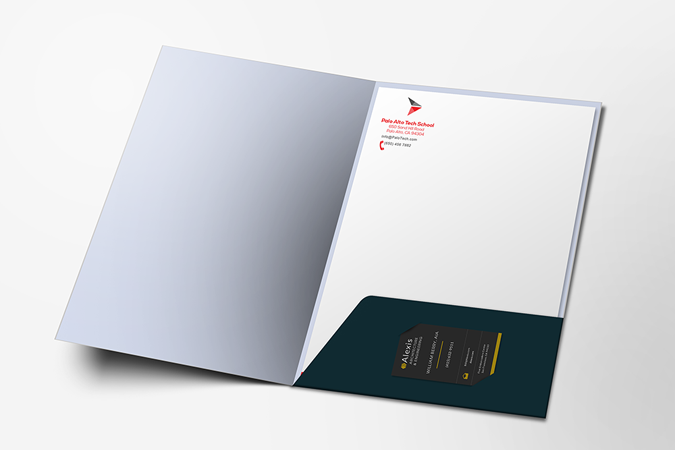 Top quality presentation folder printing on uncoated 14pt card.